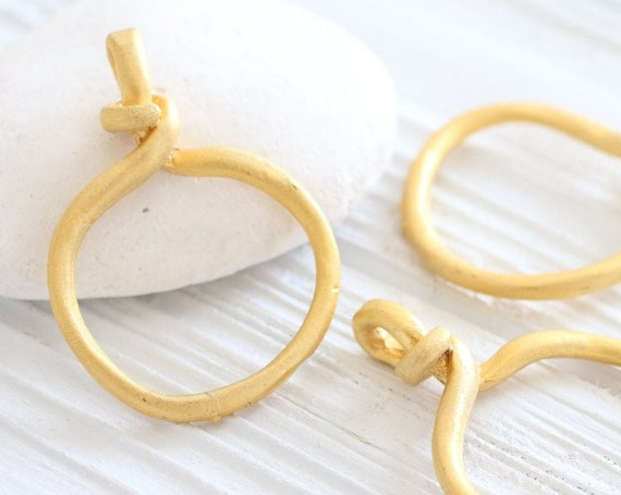 2pc ring pendant gold, knot charm, knotted circle pendant, jewelry rings, gold pendant charm, dangle, round earring pendant, connector