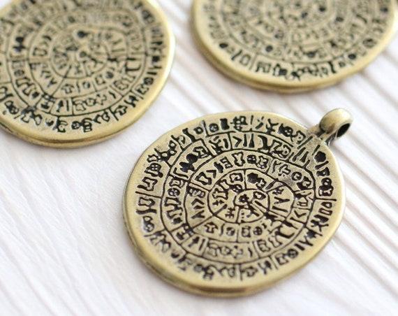 Antique gold tribal pendant, rustic pendants, boho pendant, spiral pendant, gold round pendant, hammered metal pendant, large gold pendant