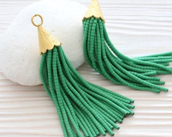 Green beaded tassel, short beaded tassels, tassel earrings, gold cap tassel, tassel necklace beaded, decorative tassels, emerald tassel, N7