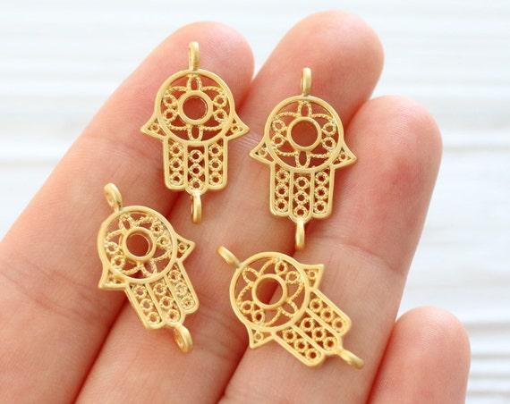 5pc filigree Hamsa charm connector, mini gold connector, mini Hamsa, gold pendant connector, hand of Fatima, gold filigree findings