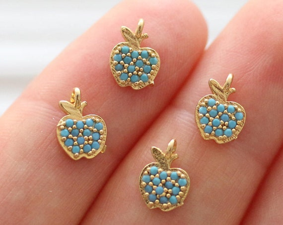 Apple charm gold, blue bead charms, big apple NY charm , bracelet charms, gold charms, beaded charms, mini apple pendant, dangles charms