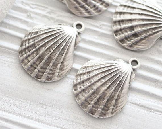 2pc seashell pendant silver, seashell earring dangles, silver shell pendant, seashells, sea findings, sea pendant, seashell charm pendant