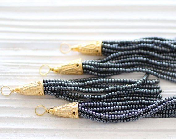 Dark gray beaded tassel, glittery, grey seed bead tassel, gold cap short tassel, jewelry tassels, earrings tassel, necklace tassel, smoke,N8