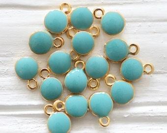10pc turquoise blue charm, enamel charms, mini round gold charms, turquoise charm, earrings charm, bracelet dangle, mini turquoise pendant