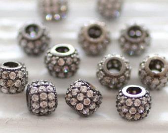 2pc, 8mm pave beads, gunmetal rhinestone rondelle beads, clear rhinestone beads, round beads, rhinestone rondelles, bead spacers, large hole