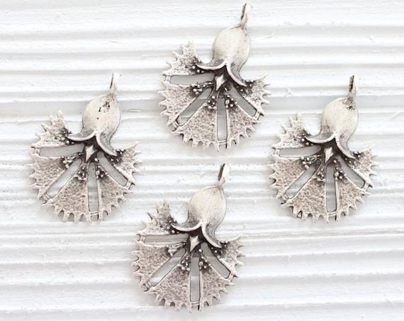 4pc flower charm silver, leaf earrings charms, large silver charms, leaf pendant, tribal pendant, earrings dangle, flower findings, hand fan