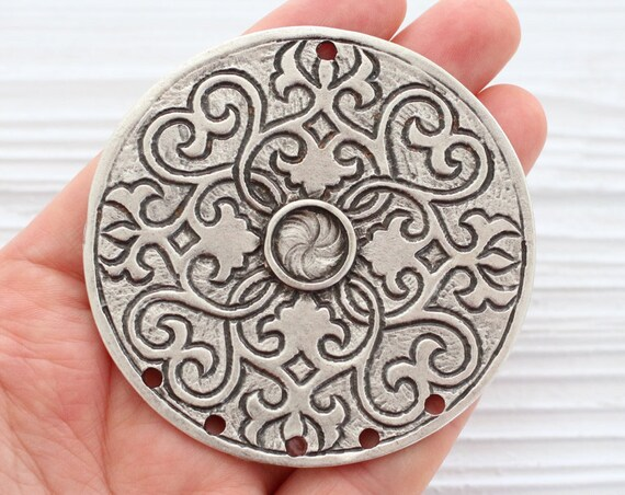 Multi strand silver medallion, antique tribal pendant, large silver pendant, boho, rustic medallion, hammered pendant, silver connector