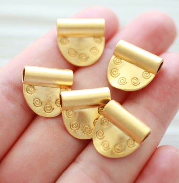 5pc spiral charm gold, earring charms, slider charm, large hole, necklace charms, bracelet charms, gold charms with tube hole, spacer bead