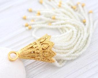 Ivory beaded tassel with large filigree gold cap, long bead tassel, handmade, ivory pearl seed bead tassel, unique tassel pendant, tassel