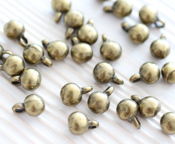 10pc antique gold beads bracelet charms metal earring beads tiny beads metal mini charms boho beads rustic charms ball beads