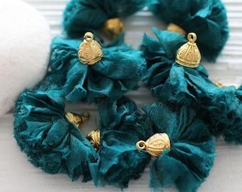 Teal tassel, teal sari silk tassel, silk pom pom tassel, tassel with cap, teal blue, keychain tassel charm, earrings necklace tassel, N1