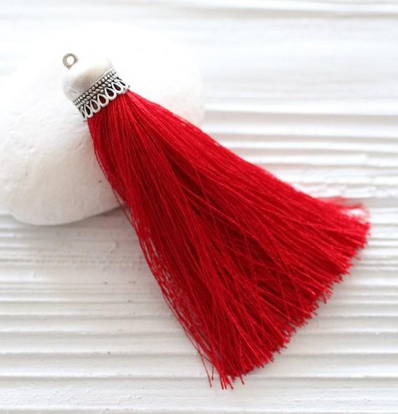 Red silk tassel with silver cap, silk tassel pendant, silver cap silk tassel,large silk jewelry tassel,red necklace tassel, crimson, N27