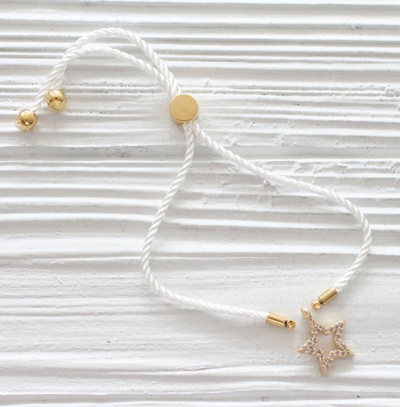 Adjustable white cord bracelet, DIY string bracelet blank, semi-ready cord bracelet with gold sliding stopper, ivory friendship bracelet, N2