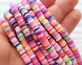 """16"""", multicolor vinyl beads, polymer beads, heishi beads, polymer clay beads, 5mm round vinyl beads, spacer beads, full strand vinyl beads"""