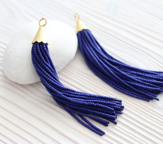 Navy bead tassel, beaded tassel, long tassel, tassel pendant, earring tassel, tassel, necklace tassel, decorative tassel, cobalt blue,N4