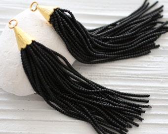 Black beaded tassel, long tassel, bead tassel, tassel pendant, tassel earrings, large tassel, tribal tassel, ethnic tassel,decorative tassel