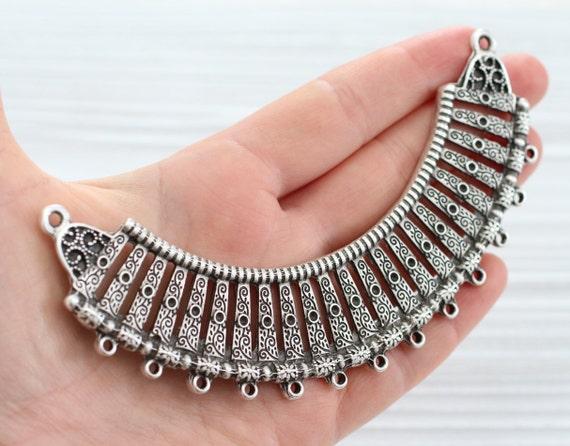 Collar necklace silver, crescent moon, crescent silver, metal collar, collar pendant, tribal crescent connector, multi strand connector