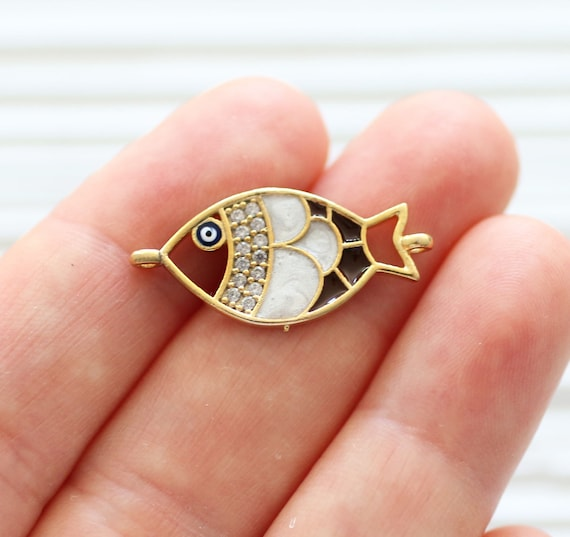 Fish pave pendant connector with evil eye bead, rhinestone pendant, pave charms, enamel pave beads, earring dangles, bracelet pave connector