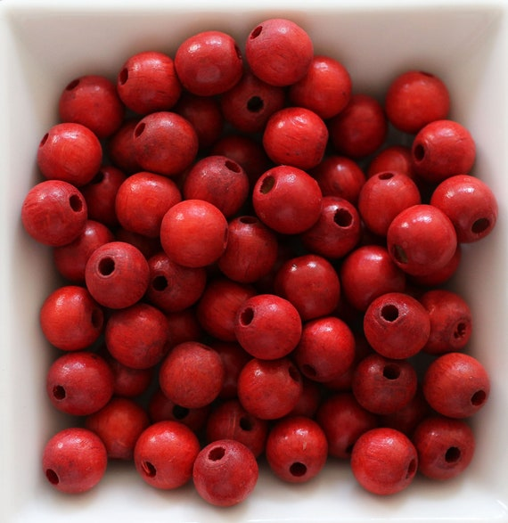 "10mm red wood beads, mala beads, 20pc, 40pc, 8"" 16"" loose beads, round wooden necklace beads, rondelle natural wood bracelet beads, N27"