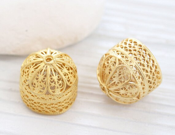 Large gold filigree tassel cap, matte gold bead caps, bead cones, end caps, gold cones, filigree tassel cap, ornate tassel cap, gold end cap
