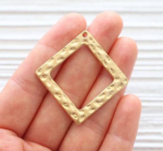 Square pendant gold, hammered metal pendant, large gold pendants, rustic pendant, boho findings, geometric pendant, square pendant, hammered