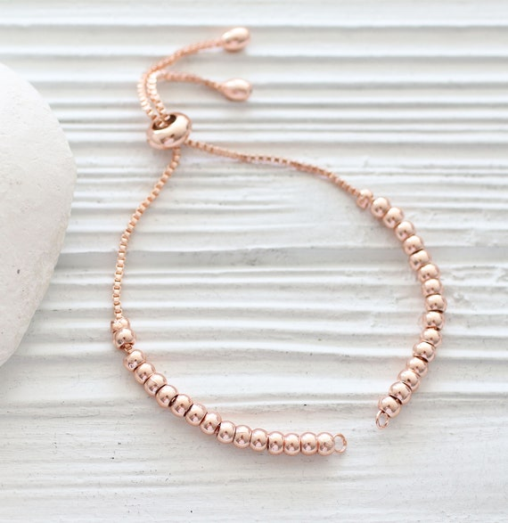 Rose gold bracelet blank with sliding stopper, adjustable DIY bead bracelet, semi-ready bracelet, friendship bracelet, chain bracelet blank