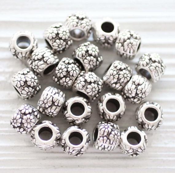 10pc large rondelle beads silver, bracelet beads, flower beads, spacer beads, slider beads, necklace large hole beads, flower charms beads