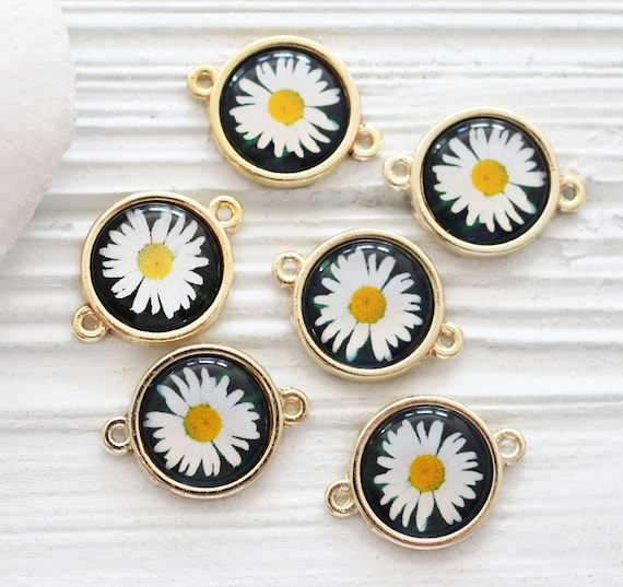 2pc daisy round connector, daisy charm, round necklace connector pendant, bracelet connector, earrings charm pendant, flower findings beads