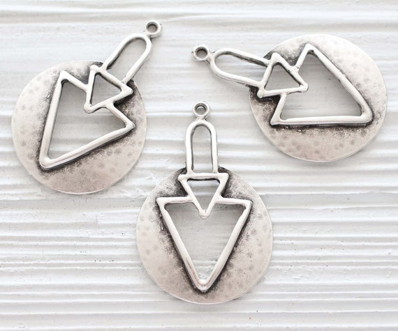 Tribal triangle pendant, silver pendant, hammered pendant, geometric pendant, rustic pendant, boho large pendant, unique statement pendant