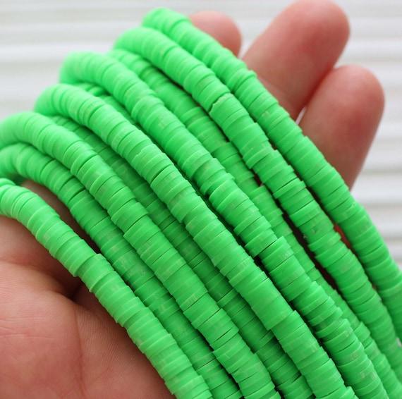 """16"""", Green heishi beads, green vinyl beads, polymer clay beads, 5mm round vinyl beads, green spacer beads, full strand vinyl beads"""