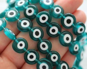 15pc-12mm teal evil eye beads, flat evil eye glass beads, lucky beads, teal blue round evil eye beads, necklace bracelet beads, EE12