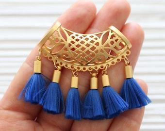 Gold filigree pendant with blue tassels, large gold connector pendant, tassel pendant, filigree findings, dangle pendant, cobalt blue tassel