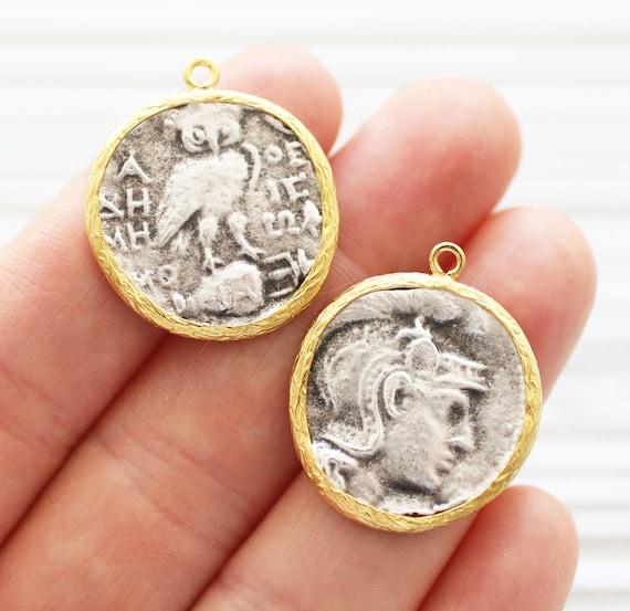 Greek coin pendant, earrings coin charm, gold framed silver coin pendant, coin charm gold, coin dangles, replica Greek coins, ancient coin