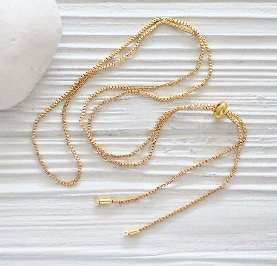 Gold or silver necklace blank with sliding stopper, adjustable DIY necklace chain, gold necklace chain, silver chain necklace blank