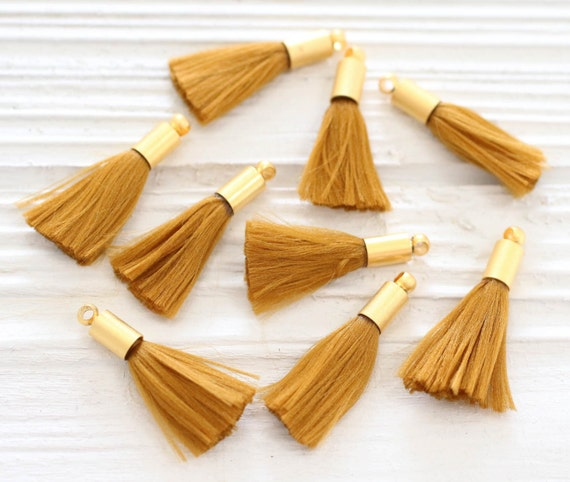 2pc golden tassel, mustard mini tassels with gold cap, tassel pendant, earrings tassel, bracelet tassels, brownish yellow, amber, N29
