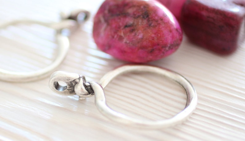 2pc silver ring pendants round pendant with top knot loop image 0