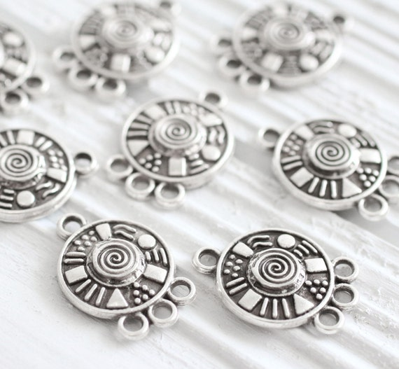 10pc silver round connector, unique spiral necklace findings, multi strand jewelry connectors, earrings chandelier charm, tribal findings