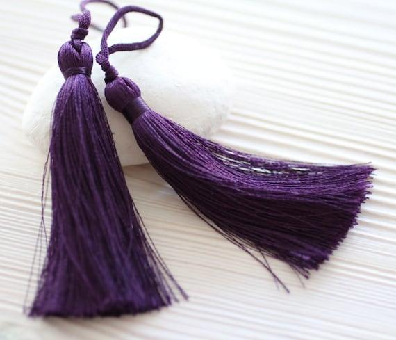 Purple silk tassel, large tassels, tassels for jewelry, purse tassel charm, home decor tassel, jewelry tassels, thick tassels, plum, N22