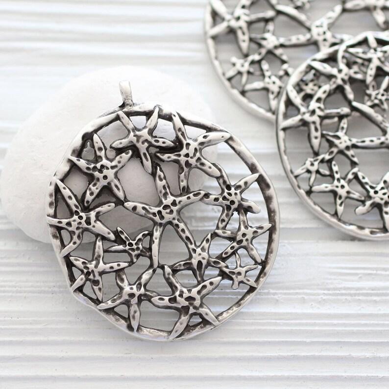 Star pendant starfish pendant large silver star pendant image 0