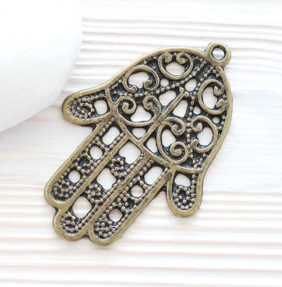 Hamsa pendant, filigree Hamsa, antique gold Hamsa pendant, antique gold pendant, Hamsa medallion, big filigree pendant, Hamsa hand
