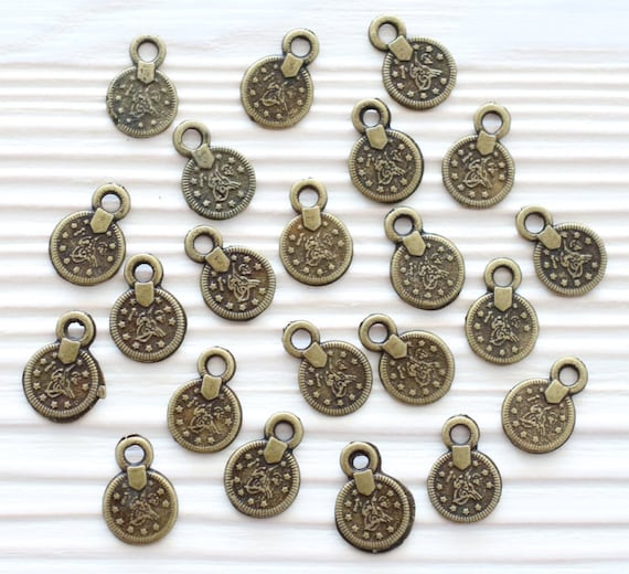 10pc antique coin beads, mini metal beads, tribal charms, rustic, disc, earring charms, round charms, flat coin, bracelet charms, dangles