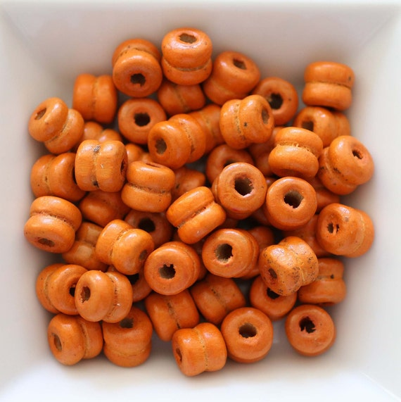 9mm natural orange wood beads, rondelle wood bracelet beads, barrel wood beads, 20pc, 40pc, loose mala beads, wooden necklace beads, N26