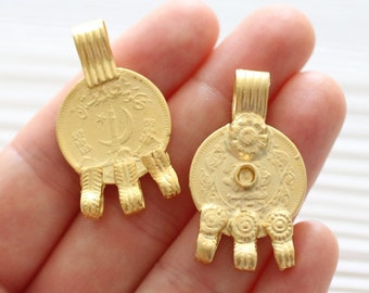 Gold coin pendant connector, multi strand connector, rustic coin pendant, large gold connector, boho pendant, coins, hammered pendant