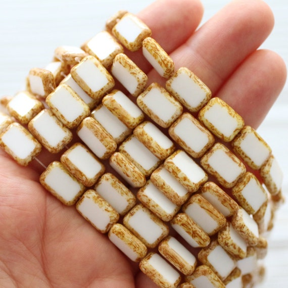 "12""- 24pc white Picasso Czech beads, Picasso beads, 12x8 mm, Czech glass beads, rectangle beads, table cut, white beads, polished Czech"