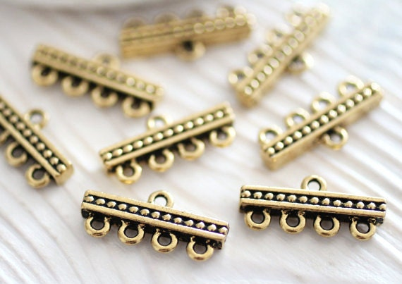 4pc antique gold jewelry connector, multi strand connector, necklace connectors, gold bar connectors, gold links, end bars, TierraCast