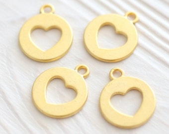 5pc cut out heart gold charm, gold earrings dangle, gold disc charms, round gold metal beads, bracelet charm, earrings charms, heart pendant