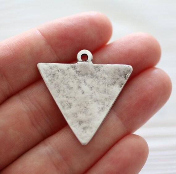 2pc triangle charm pendant, silver charms, earring charms, geometric pendant, tribal pendant, boho pendant, hammered pendant, flat charms