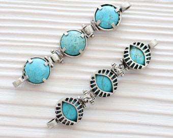 Turquoise pendant connector, gemstone connector, bracelet connector, silver bezel, large gemstone pendant, bezel connector, double sided