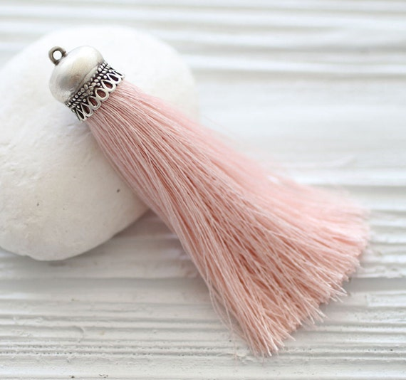 Baby pink silk tassel, silver cap tassel, silk tassel pendant, pink mala silk tassel, jewelry tassel, long large necklace tassel, tassel,N35