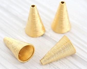 2pc gold tassel caps, bead cones, large bead caps, large end caps, rustic bead cap, tassel cap, tribal tassel cap, gold bead cap, gold cones